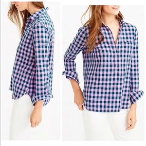 J Crew Gingham Popover Blouse In Blue Lilac Shirt